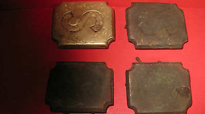 4 vintage heavy horse harness placques