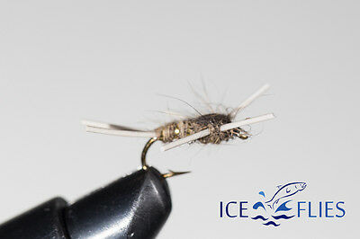 ICE FLIES. Nymph. Hares Ear rubber legs.  (4-pack). Available in size 8 - 14