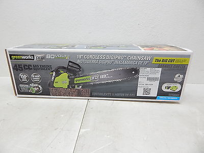 """GreenWorks Pro GCS80421 80V 18"""" Cordless Chainsaw, 2Ah Li-Ion Battery Included"""