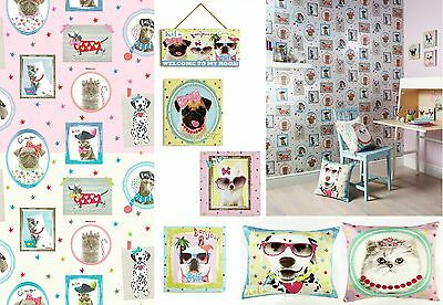 Cats & Dogs Hall of Fame Girls Kids Bedroom Wallpaper & Matching Accessories