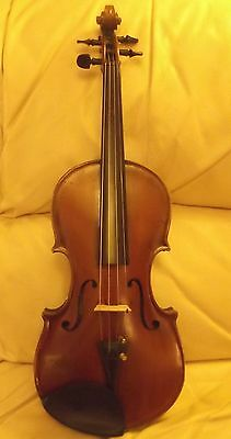 Handsome old German violin Label Karl Fuchs with an old bow all in an old case