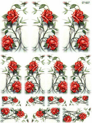 AMaZinG ReD RoSeS SWaGs ShaBby WaTerSLiDe DeCALs *ChiC*