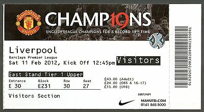 2011/12 MANCHESTER UNITED v LIVERPOOL - TICKET - MINT & POSTFREE