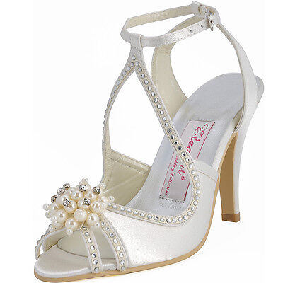Ivory Peep Toe High Heel Cross Strap Sandals Satin Wedding Bridal Shoes US 4