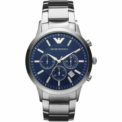 Brand New Emporio Armani AR2448 Stainless Steel Blue Chronograph Men's Watch