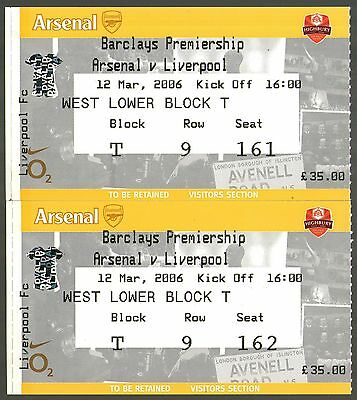 2005/06 ARSENAL v LIVERPOOL - MATCH TICKETS - MINT & POSTFREE