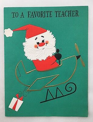 Cute Santa Claus Flying Shiny Gold Airplane Vintage Christmas Card Hallmark