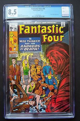 FANTASTIC FOUR #96 Marvel CGC 8.5. Mad Thinker appearance, Stan Lee, Jack Kirby