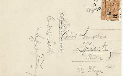 1924 MONACO POSTCARD TO TRIESTE WITH 45c SURCHARGED STAMP REF 521