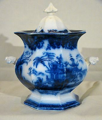 John Meir Flow Blue Chen-si Staffordshire Sugar Bowl & Cover 1842-1867
