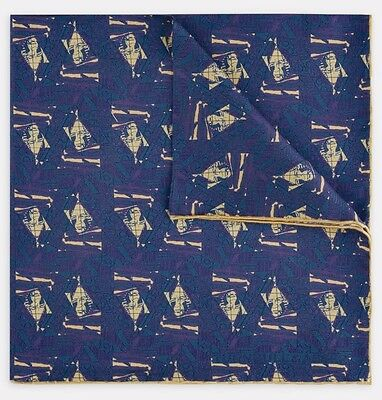 Turnbull & Asser Artist Portrait Picasso Blue And Yellow Silk Pocket Square BNWT