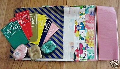 Vintage 51 Piece Assorted Gift Wrap Set Ribbons Tissues Cards Paper