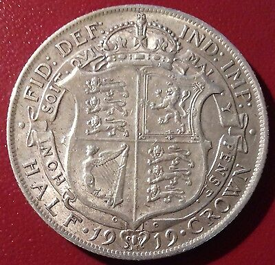 1919 Half Crown. Scarcer Year. George V British Silver Coins.