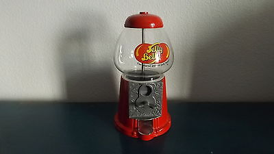 Large Red Jelly Belly Bean Gumball Machine Dispenser Glass & Metal Coin Bank EUC