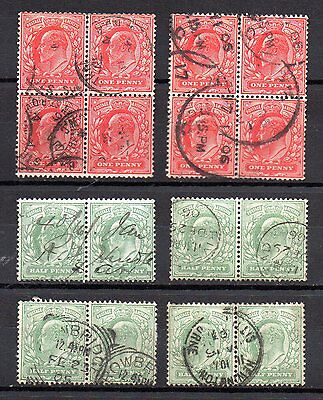 EVII Edward VII Collection of used ½d & 1d definitive stamps in blocks & pairs