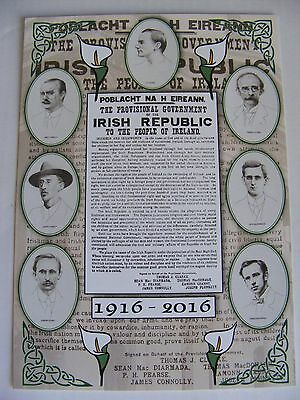 SUPERB POSTCARD IRISH PROCLAMATION EASTER RISING 7 SIGNATORIES Irish Republican