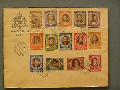 Vatican, 1950, 2 Anno Santo envelopes, with 2 complete sets(14+8) of stamps.