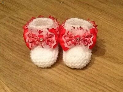 Baby Girls Hand Knitted Booties Newborn White / Red Lace & Bow