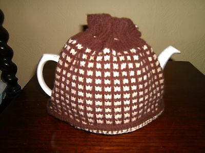vintage hand knitted tea cosy in brown and beige