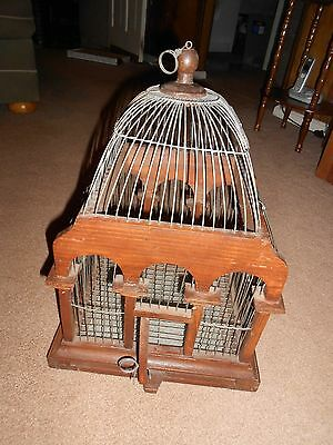 """Vtg Wood & Wire Domed Top Bird Cage Victorian Shabby Chic 18"""" w/Slide Tray"""
