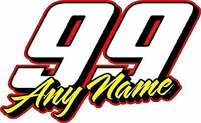 Race number vinyl decal sticker your name & number custom race team