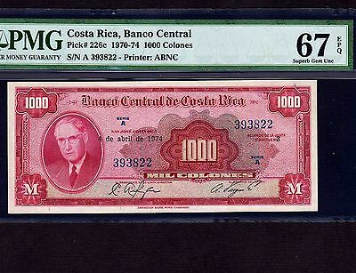 Costa Rica, 1000 Colones 1974, P-226c, PMG Superb Gem Unc 67 EPQ  * High Grade *
