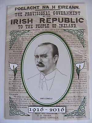 Superb Postcard JAMES CONNOLLY IRISH PROCLAMATION EASTER RISING Irish Republican