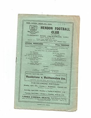WEALDSTONE v WALTHAMSTOW AVENUE (L.S.C S/F 2nd replay at Hendon F.C) 1952/53