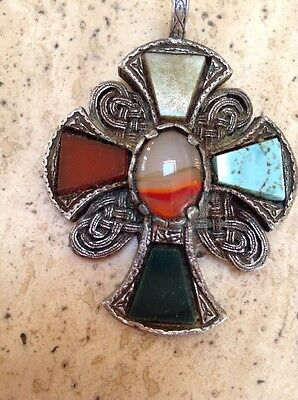 Ladies Miracle Celtic Metal With Stone Jewelled Pendant Cross