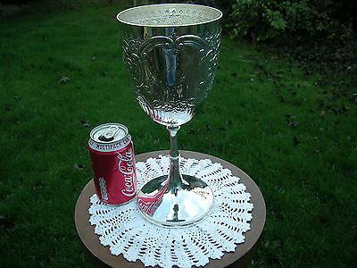 Superb English Hallmarked Large Solid Silver Presentation Goblet Chester 1901