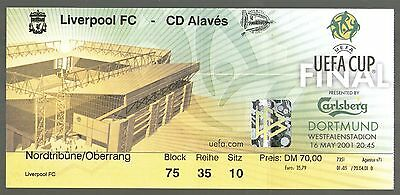 2001 UEFA CUP FINAL - LIVERPOOL v ALAVES - TICKET - MINT & POSTFREE