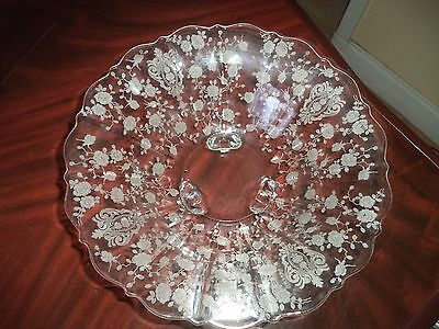 Cambridge Crystal Etched Rose Point Fruit Bowl( 4 Toes)...gorgeous!
