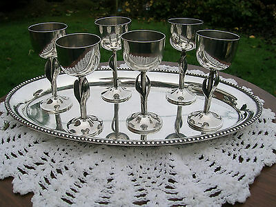 German Hallmarked Solid Silver Set of 6 Kiddush Cups and Tray.