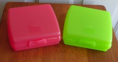 Tupperware Set/2 Sandwich Keepers Lime Green & Watermelon NEW