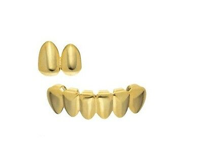 Grillz 24K Gold Plated Double Tooth Cap and Bottom Grill Set Bling Hip Hop