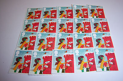 20 First Class Christmas Stamps Off Paper, Not Franked And Without Gum