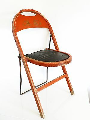 RARE Vintage 1920's Stakmore NYC Asian Oriental Motif Industrial Folding Chair