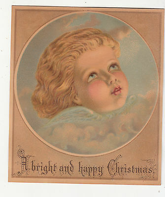 A Bright and Happy Christmas Baby Angel Clouds Vict Card c 1880s