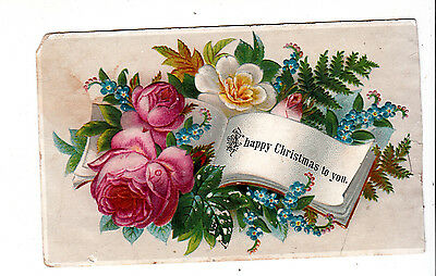 A Happy Christmas To You Ferns Pink Roses Embossed Vict Card c1880s