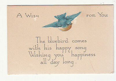 A Wish For You the Bluebird Comes w Happy Song Victorian Card c1880s