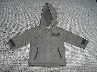 Matalan Baby Boys 9-12 Months Quilted Khaki Coat