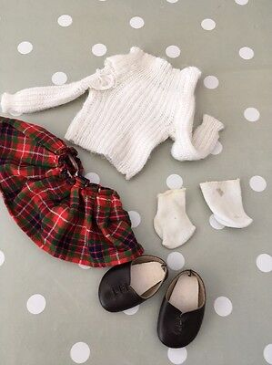 Vintage 1970s Sasha Doll Jumper Skirt And Original Shoes From The Kilt Outfit