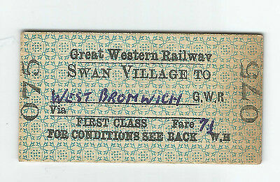 GWR First Class Ticket Swan Village to West Bromwich issued 07 MAY 60