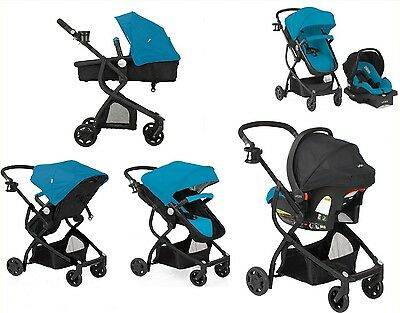 Baby Stroller Car Seat 3in1 Travel System Teal Bassinet Infant Carriage Buggy