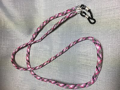 Pink Grey Black White  Paracord Reading Sunglasses Eyeglass Chain Holder #246