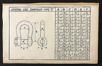 Harland & Wolff 1930's Shipyard Eng Drawing - GENERAL USE SHACKLES TYPE C (P5)