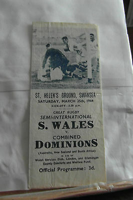 1944 south wales v combined dominions   rugby union programme