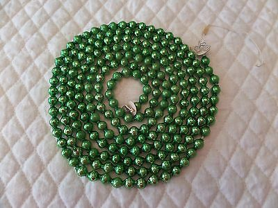 "86"" Vintage Antique Kelly Green 5/16"" Mercury Glass Bead Garland Feather Tree"