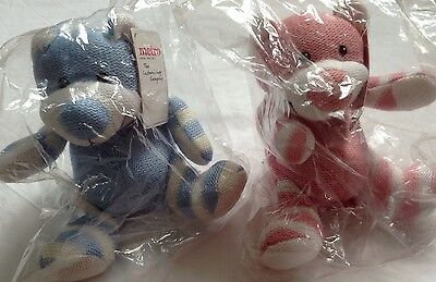 Knitted Smiling Bear by Metro 15cm - 3x Pink 3x Blue - Wholesale joblot.