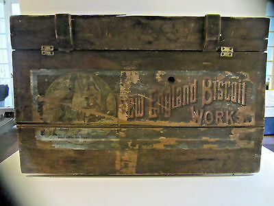 Rare Antique New England Biscuit Works Gansevoort St New York  Advertising Box